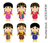 set of girls are wearing an old ... | Shutterstock .eps vector #625319939