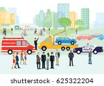 traffic accident with police...   Shutterstock . vector #625322204