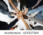 diverse people hands together... | Shutterstock . vector #625327364
