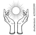human hands hold a symbol of... | Shutterstock .eps vector #625335599