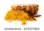 turmeric powder and turmeric on ... | Shutterstock . vector #625337864