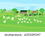 farm animals on the meadow  3d... | Shutterstock . vector #625339247