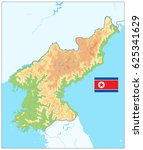 north korea physical map. no... | Shutterstock .eps vector #625341629