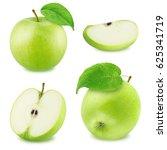 set of different green apples... | Shutterstock . vector #625341719