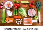 vegetables  fruit  fish  milk... | Shutterstock . vector #625345601