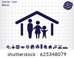 family and home vector icon | Shutterstock .eps vector #625348079