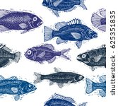 freshwater fish endless pattern ... | Shutterstock . vector #625351835
