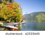 "Boats on a beautiful autumn day in ""Zell am See"", Austria. - stock photo"