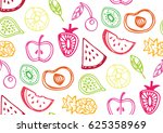 hand drawn doodle pattern with... | Shutterstock .eps vector #625358969