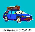 funny cartoon blue sport car... | Shutterstock .eps vector #625369175