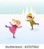 two kids in winter costumes... | Shutterstock .eps vector #62537062