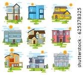 set of houses  | Shutterstock .eps vector #625378325