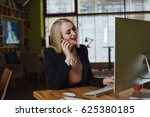 young woman working in office ... | Shutterstock . vector #625380185