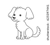 black and white cute cartoon... | Shutterstock .eps vector #625397441
