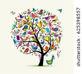 tree with birds  sketch for... | Shutterstock .eps vector #625398557