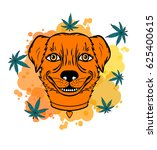 smiling dog with a leaf.... | Shutterstock .eps vector #625400615