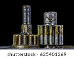 upright metal gears covered... | Shutterstock . vector #625401269