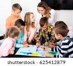 portrait cheerful team of... | Shutterstock . vector #625412879