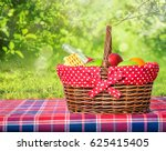 picnic basket and blanket on... | Shutterstock . vector #625415405