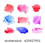 set of colorful watercolor... | Shutterstock . vector #625427951