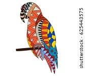 hand drawn doodle ornate parrot.... | Shutterstock .eps vector #625443575