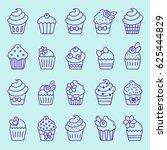 cupcake icon set | Shutterstock .eps vector #625444829