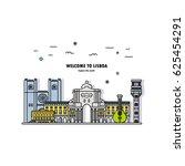 landmarks icons set  lisbon... | Shutterstock .eps vector #625454291