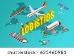 global logistics network flat... | Shutterstock .eps vector #625460981