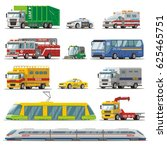 colorful city transport set... | Shutterstock .eps vector #625465751