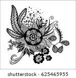 hand drawn floral zentdoodle....