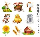 farm set. agricultural plants ... | Shutterstock .eps vector #625474259