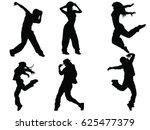 set of dancers silhouette   Shutterstock .eps vector #625477379