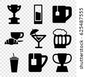 cup icons set. set of 9 cup... | Shutterstock .eps vector #625487555