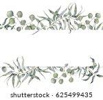 watercolor card with eucalyptus ... | Shutterstock . vector #625499435