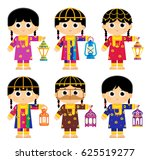 girls are wearing an old... | Shutterstock .eps vector #625519277