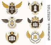 heraldic emblems with wings... | Shutterstock . vector #625527101