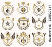 heraldic emblems with wings... | Shutterstock . vector #625527164