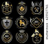 collection of heraldic... | Shutterstock . vector #625527761