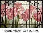 stained glass pink tulips | Shutterstock .eps vector #625550825