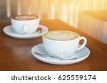 hot matcha tea and latte art in ... | Shutterstock . vector #625559174