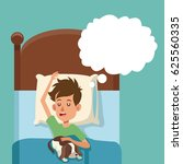 boy sleep dream with dog in bed | Shutterstock .eps vector #625560335