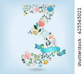 floral number three. watercolor ... | Shutterstock .eps vector #625565021