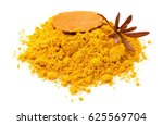 turmeric powder isolated on... | Shutterstock . vector #625569704