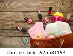 mother's handbag with items to... | Shutterstock . vector #625581194