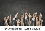 hands showing gestures . mixed... | Shutterstock . vector #625585235