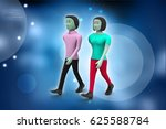 3d illustration of two friends... | Shutterstock . vector #625588784