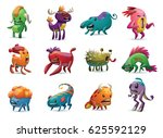 vector set of twelve cartoon... | Shutterstock .eps vector #625592129