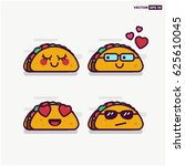 Set Of Cute Taco Line Icons