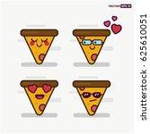 set of cute pizza slice line... | Shutterstock .eps vector #625610051