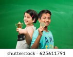 indian smart school girl and... | Shutterstock . vector #625611791